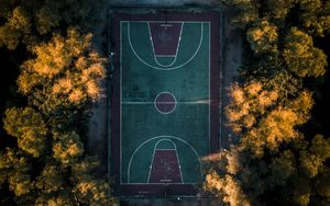 Preview wallpaper basketball court, trees, aerial view, basketball, court