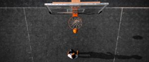 Preview wallpaper basketball, basketball hoop, ball, aerial view