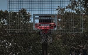 Preview wallpaper basketball hoop, backboard, hoop, basketball, court
