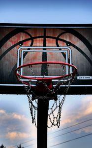 Preview wallpaper basketball hoop, basketball, sky, twilight