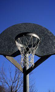 Preview wallpaper basketball hoop, mesh, sky, basketball, sport