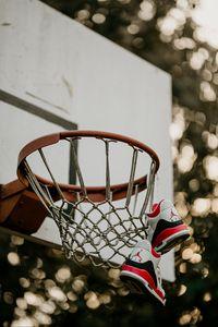 Preview wallpaper basketball hoop, sneakers, net, shield, basketball