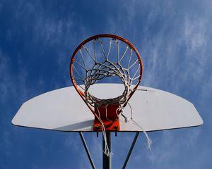 Preview wallpaper basketball, net, hoop, sky, bottom view