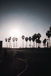 Preview wallpaper basketball, playground, dark, silhouettes, palm trees, sun