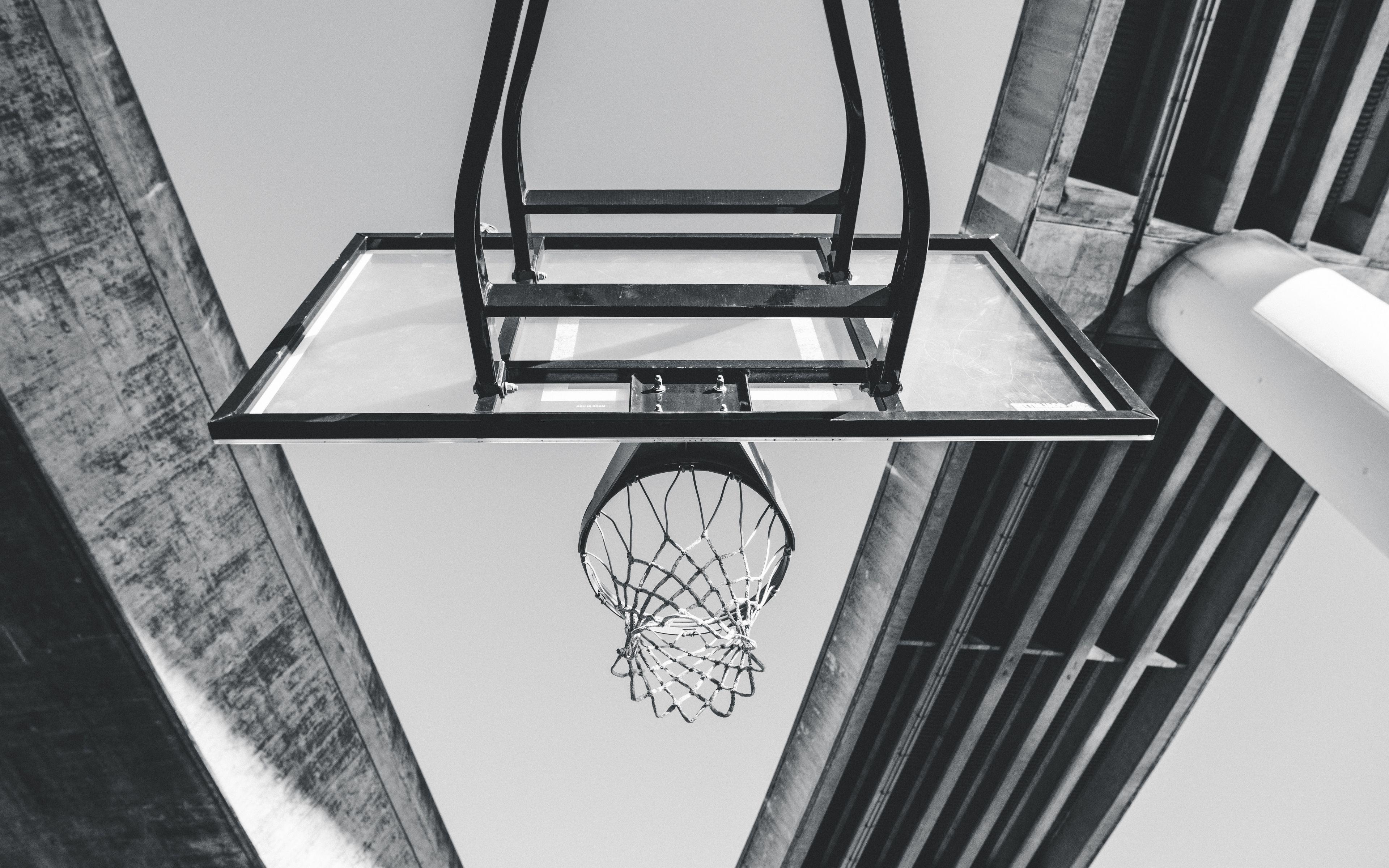 3840x2400 Wallpaper basketball, ring, mesh, bw