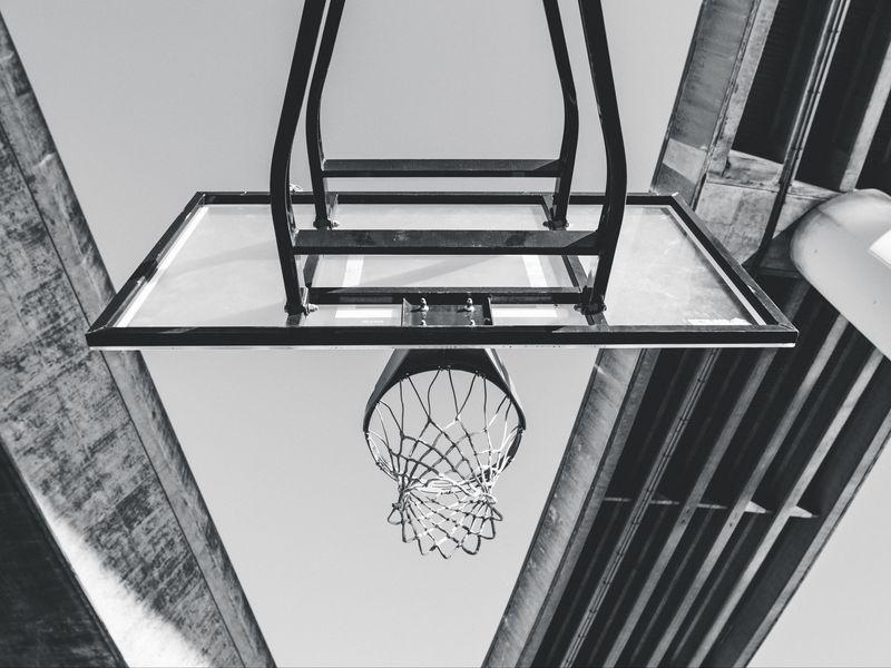 800x600 Wallpaper basketball, ring, mesh, bw