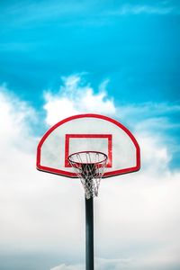 Preview wallpaper basketball ring, shield, net, sky, basketball