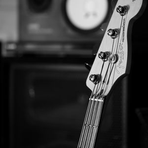 Preview wallpaper bass guitar, guitar, fretboard, strings, music, black and white