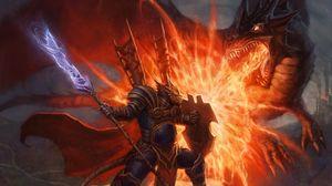 Preview wallpaper battle, spear, shield, monster, weapons, dragon, art