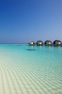 Preview wallpaper beach, ocean, sand, palm trees, bungalows