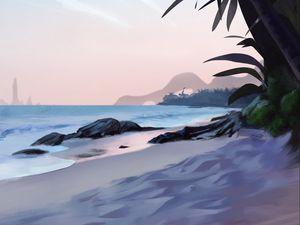 Preview wallpaper beach, palm trees, sea, tropics, art