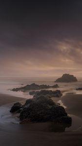 Preview wallpaper beach, rocks, sea, landscape, twilight