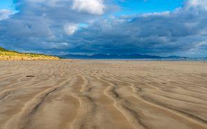 Preview wallpaper beach, sand, sea, clouds, landscape