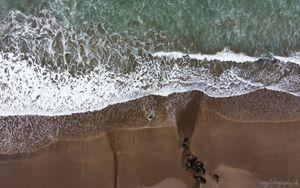 Preview wallpaper beach, sand, sea, aerial view