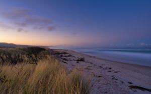 Preview wallpaper beach, sand, sea, coast, dusk