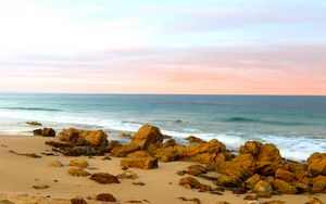 Preview wallpaper beach, sand, stones, sea, landscape