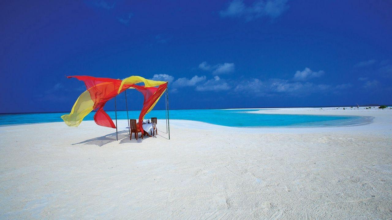 Wallpaper beach, sand, table, comfort, romance