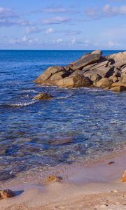 Preview wallpaper beach, sea, stones, landscape, nature