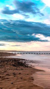 Preview wallpaper beach, shore, sea, water, horizon, landscape