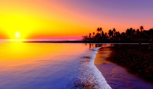 Preview wallpaper beach, tropics, sea, sand, palm trees, sunset