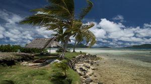 Preview wallpaper beach, wind, coast, canopy, tropics