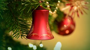 Preview wallpaper bell, new year, christmas, christmas decoration, christmas tree