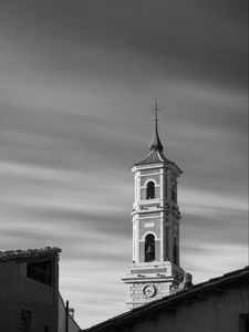 Preview wallpaper bell tower, tower, building, architecture, black and white