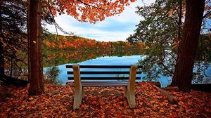 Preview wallpaper bench, autumn, river, lake, trees