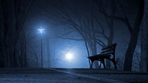 Preview wallpaper bench, night, park, gloomy