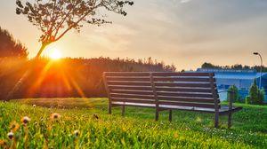 Preview wallpaper bench, park, sunlight, summer