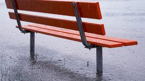 Preview wallpaper bench, rain, downpour, puddles