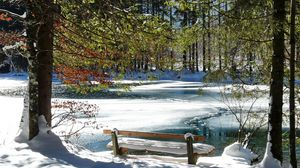 Preview wallpaper bench, spring, coast, lake, ice, thawing, snow, trees