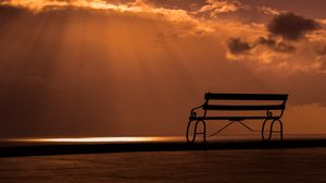 Preview wallpaper bench, sunset, sky, clouds