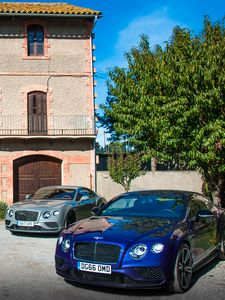 Preview wallpaper bentley continental, bentley, cars, blue, parking