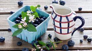 Preview wallpaper berries, blackberries, blueberries, pitcher