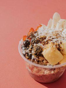 Preview wallpaper berries, fruits, oatmeal, dessert