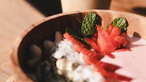 Preview wallpaper berries, nuts, bowl, breakfast, dessert