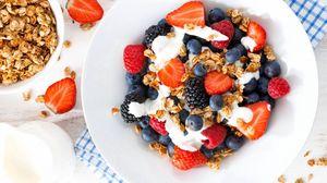 Preview wallpaper berries, strawberries, blueberries, raspberries, blackberries, dish, yogurt