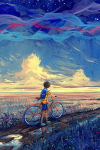 Preview wallpaper bicycle, art, cyclist, pathway