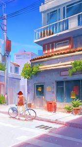 Preview wallpaper bicycle, art, girl, street, buildings, summer