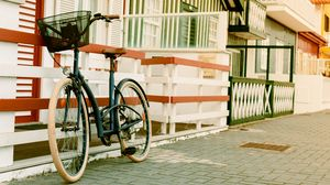Preview wallpaper bicycle, basket, street, house