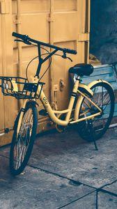 Preview wallpaper bicycle, door, yellow
