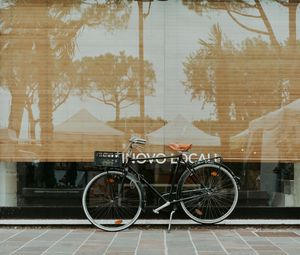 Preview wallpaper bicycle, facade, street, reflection
