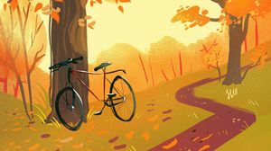 Preview wallpaper bicycle, forest, path, autumn, art