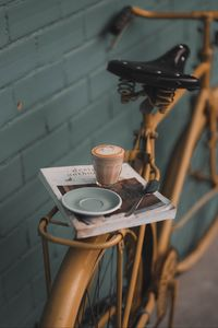 Preview wallpaper bicycle, glass, book, mood, coffee, drink