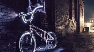 Preview wallpaper bicycle, neon, steering wheel, yard, evening