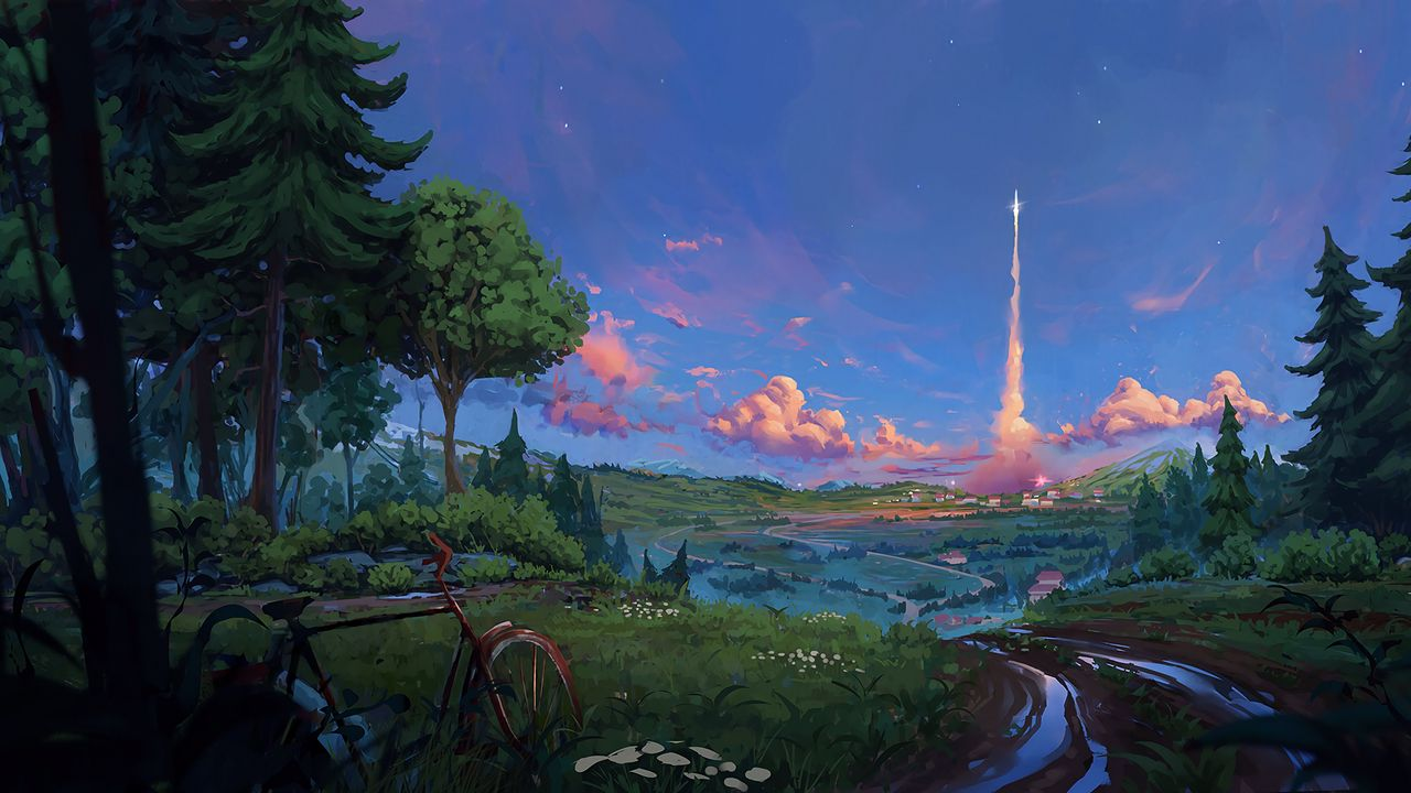 1280x720 Wallpaper bicycle, trees, art, forest, landscape, summer