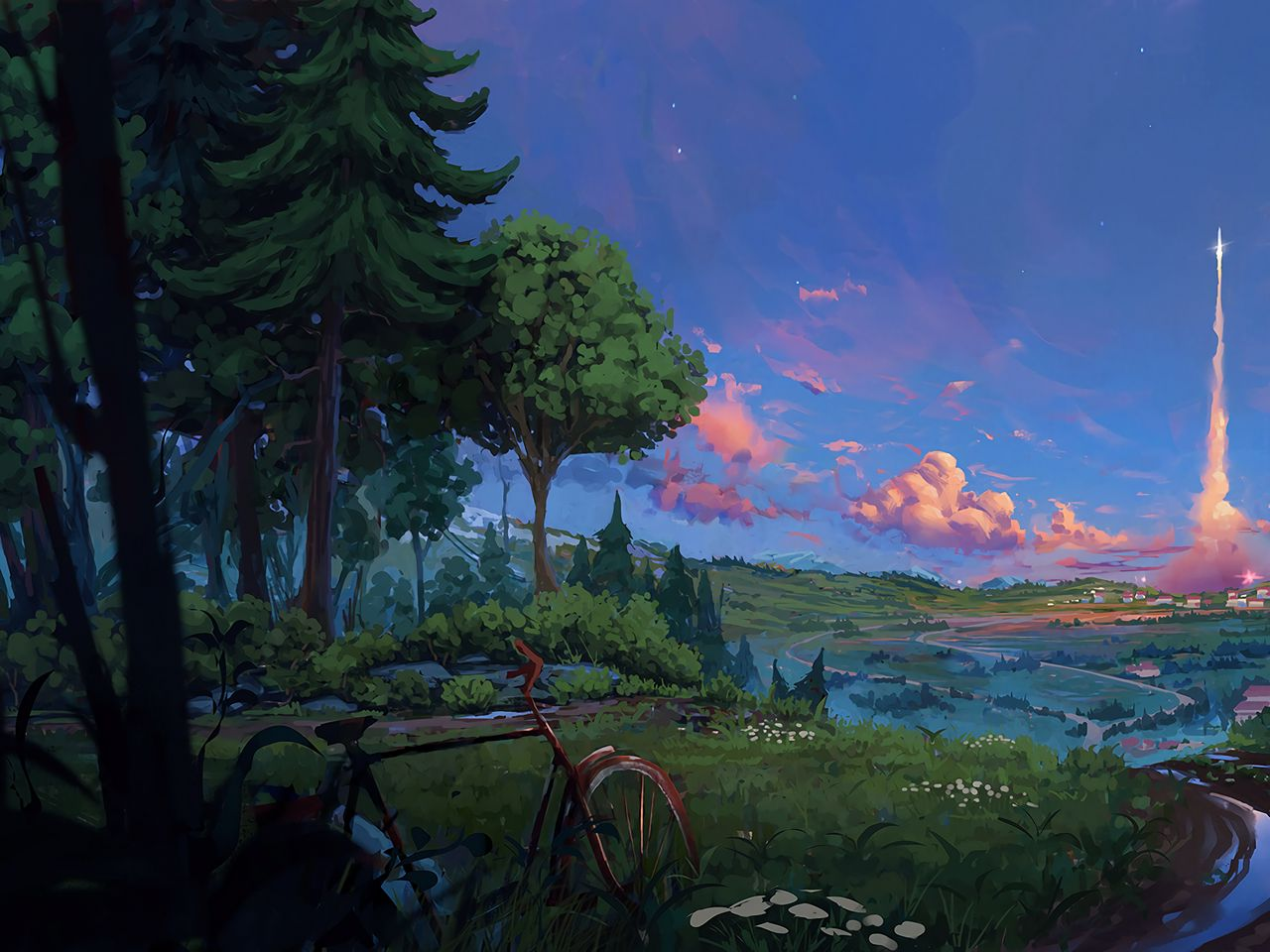 1280x960 Wallpaper bicycle, trees, art, forest, landscape, summer