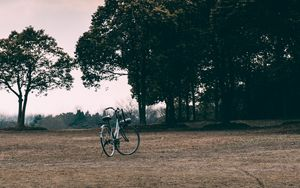 Preview wallpaper bicycle, trees, grass, clearing, clouds, overcast