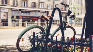 Preview wallpaper bicycle, vintage, flower bed, fence